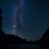 The Milky Way and Perseids meteor shower over Wild Goose Island, Glacier National Park, Montana