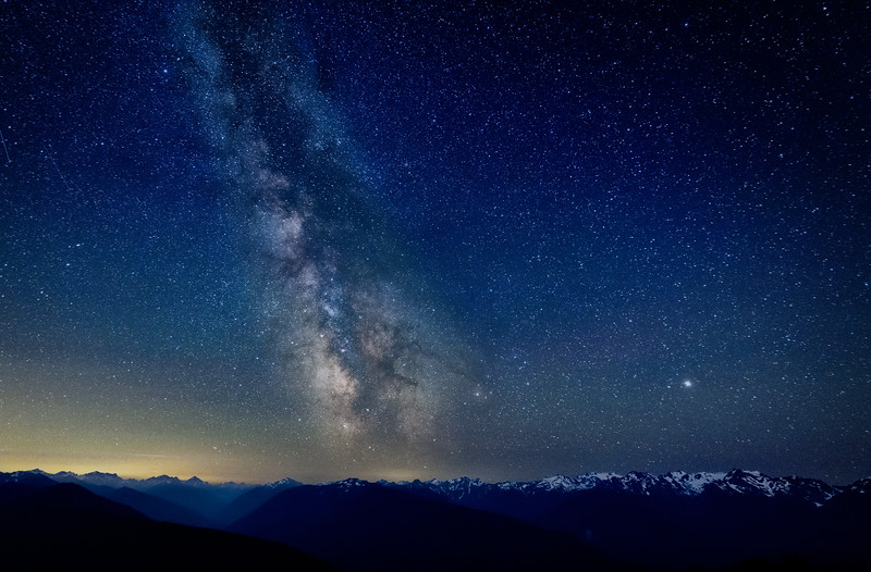 The Milky Way over the Olympic Mountain Range at Hurricane Ridge, Olympic National Park, Washington State