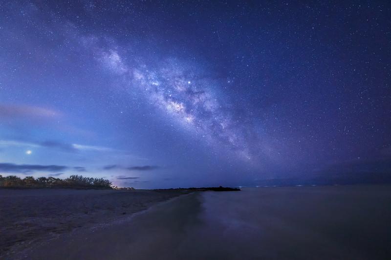 Venus, Jupiter and the Milky Way over Turner Beach, Sanibel Island, Florida