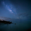 The Milky Way over the rocks at Turner Beach in the Gulf of Mexico on Captiva, Florida