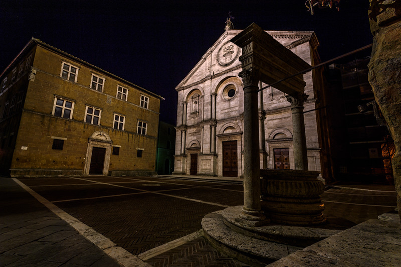 Pienza Cathedral and Piazza Pio II at night, Pienza, Italy