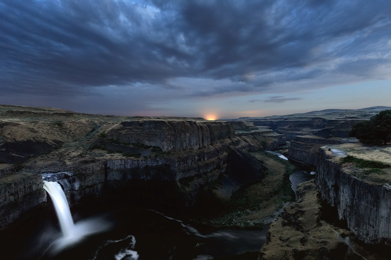 Light from a distant train in the canyon near Palouse Falls, Washington State