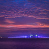 Pre-dawn clouds over the illuminated Sunshine Skyway Bridge, Fort De Soto Park, St. Petersburg - Florida