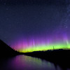 Northern Lights over the North Fork of the Flathead River, Glacier National Park, Montana
