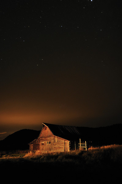 Barn at night