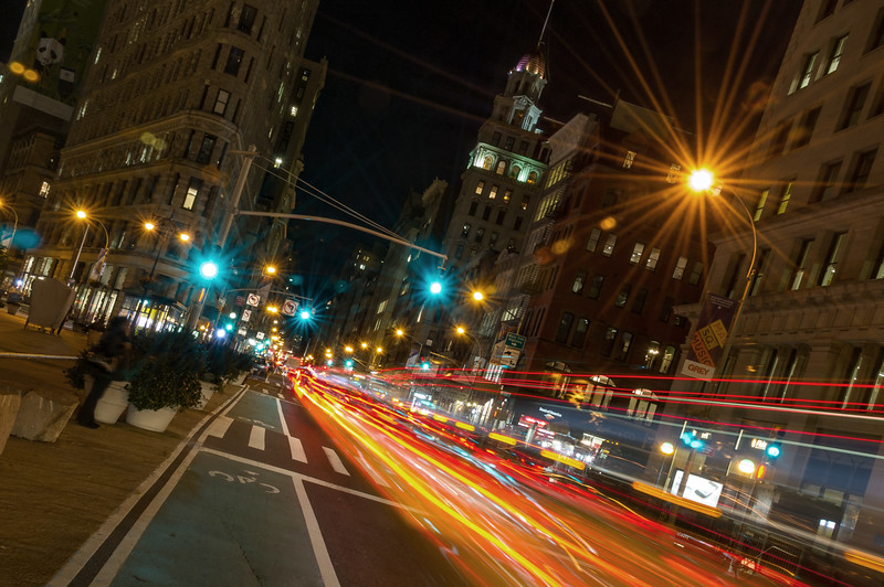 Flatiron Building at Fifth Avenue and 23rd Street at night, New York City