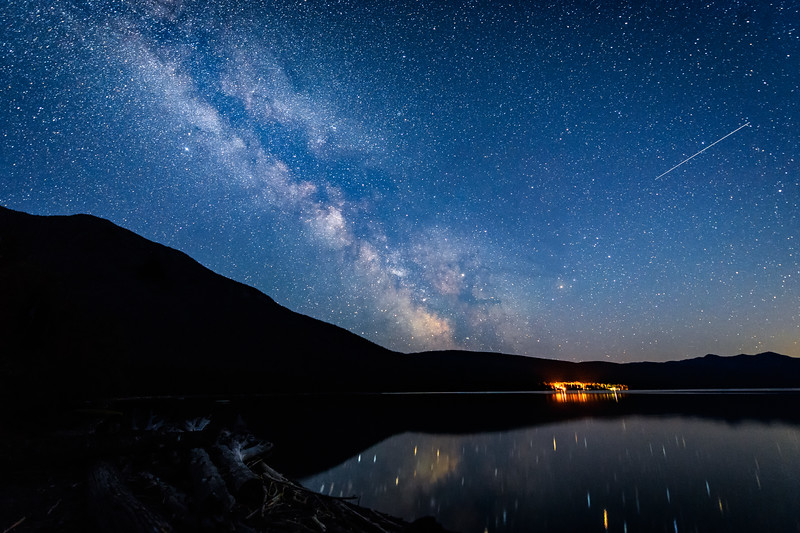 The Milky Way and Meteors over the north end of Lake McDonald, Glacier National Park, Montana