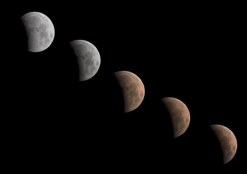 Sequence of May 2021 lunar eclipse around 5 a.m. in the Nebraska Sandhills near Valentine, Nebraska