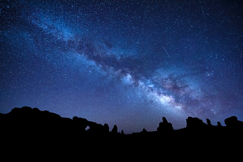 The Milky Way over the Windows section of Arches National Park, Moab, Utah