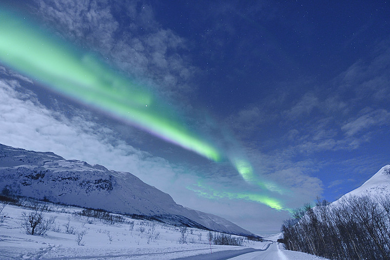 Aurora Borealis Over Norwegian Road at Night