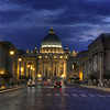 St. Peter's Basilica at night, Rome, Italy. View from Via della Conciliazione