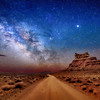 The Milky Way and Sitting Hen Butte in the Valley of the Gods near Mexican Hat, Utah