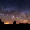 The Milky Way and meteors over Monument Valley, Arizona