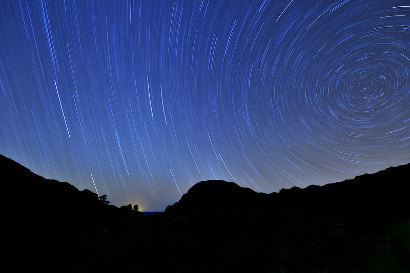 Star Trails Above the Chisos Mountains, Big Bend National Park, Texas