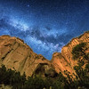 The Milky Way rising over La Ventana Arch at El Malpais National Monument near Grants, New Mexico