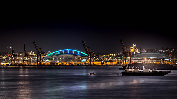 Century Link (now Lumen) and Safeco Field (now T-Mobile Park) from West Seattle in March 2013. There are sealions on the buoy!