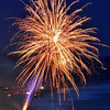 Fireworks at twilight, July 4th, 2010.  Aptos, CA