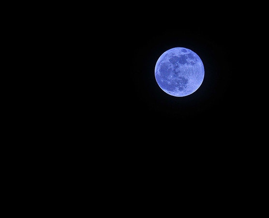 """2009 New Year's Eve """"blue moon""""!  I used a special white balance to create the blue-ish tint just for fun.  A """"blue moon"""" is when a second """"full moon"""" rises in a calendar month.  The next """"blue moon"""" that will appear on New Year's Eve will be in 19 years! 5:56 PM, 12/31/09."""