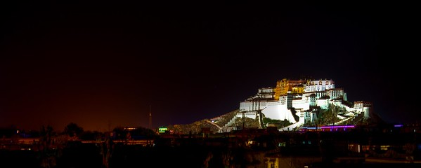 Night scene of Potala Palace shot from a very distant.