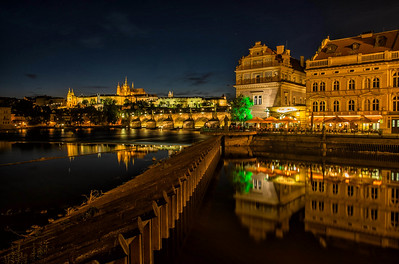 Prague, Czech Republic with Charles Bridge and Lobkowicz Palace as the backdrop.