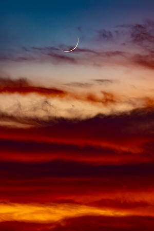 Crescent Moon In the Sunset Clouds