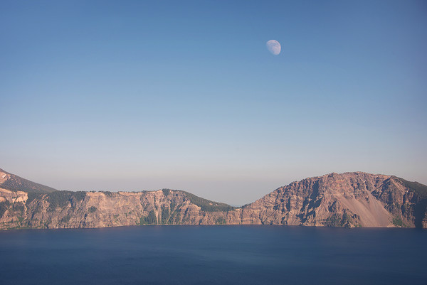 Moon Set at Crater Lake