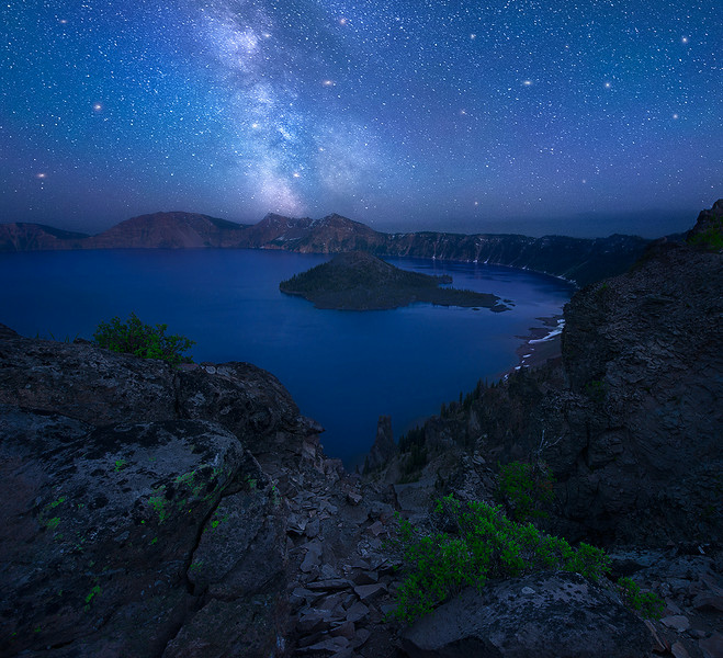 The Milky Way rising over Crater Lake, Oregon