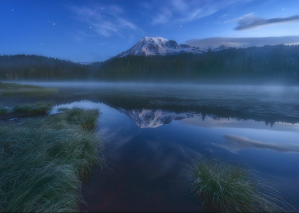 Stars Twinkle at Twilight - Mount Rainier National Park, Washington