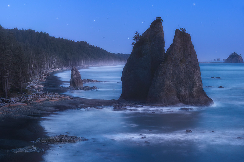 Starry Skies and Moon Lit Landscapes - Olympic National Park, Washington