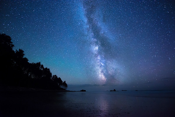 Milky Way Rising Over the Pacific Ocean - Olympic National Park, Washington