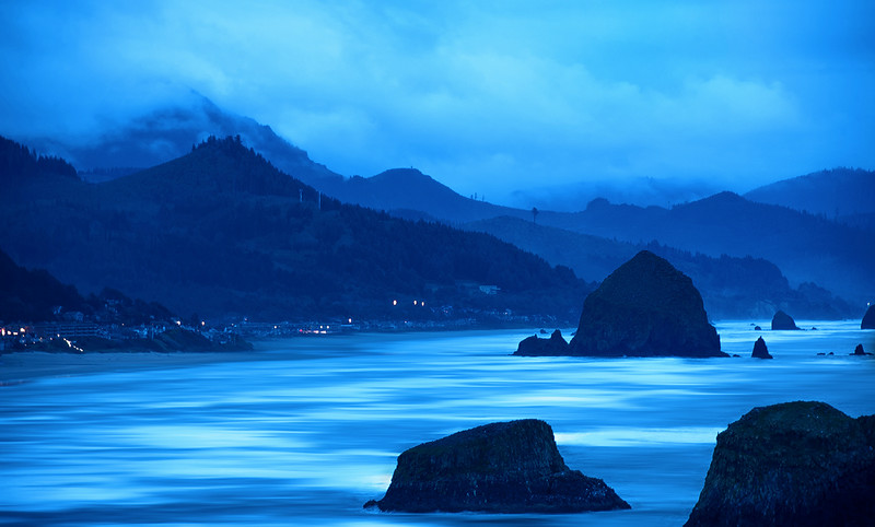 Sea Stacks at Twilight - The Oregon Coast