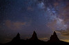 Milky Way over the Trona Pinnacles, California.  Got lucky an also captured three shooting stars at the top of the frame.