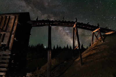 Milky Way Over Ore Cart Tracks