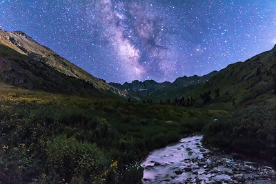 Moonlit American Basin with Milky Way