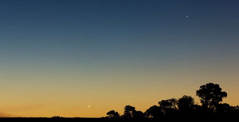 Venus and Mercury low in the evening twilight, from near Heathcote (Victoria, Australia) and the Astronomical Society of Victoria's Dark Sky SIte.