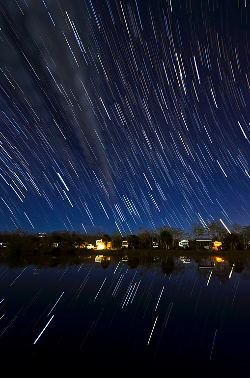 Blazing startrails over a campground deep within Everglades National Park in South Florida.