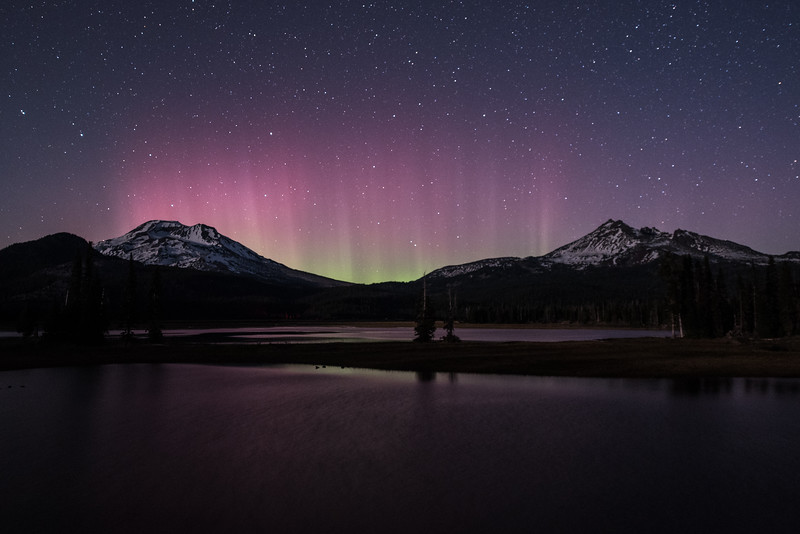 Aurora over South Sister and Broken Top