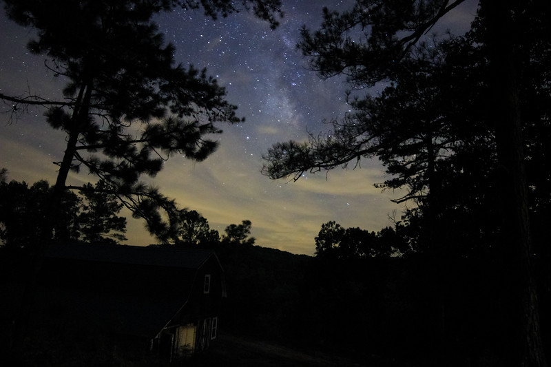 Milky Way Behind Clouds and Trees