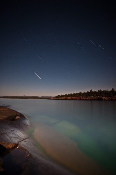Star Trails from Magnet Island <br /> <br /> Susie Islands <br /> Grand Portage Indian Reservation <br /> Grand Portage, Minnesota <br /> (5DII-17406)