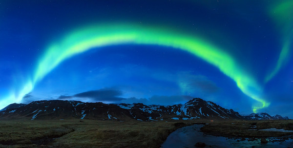The aurora borealis over northern Iceland.