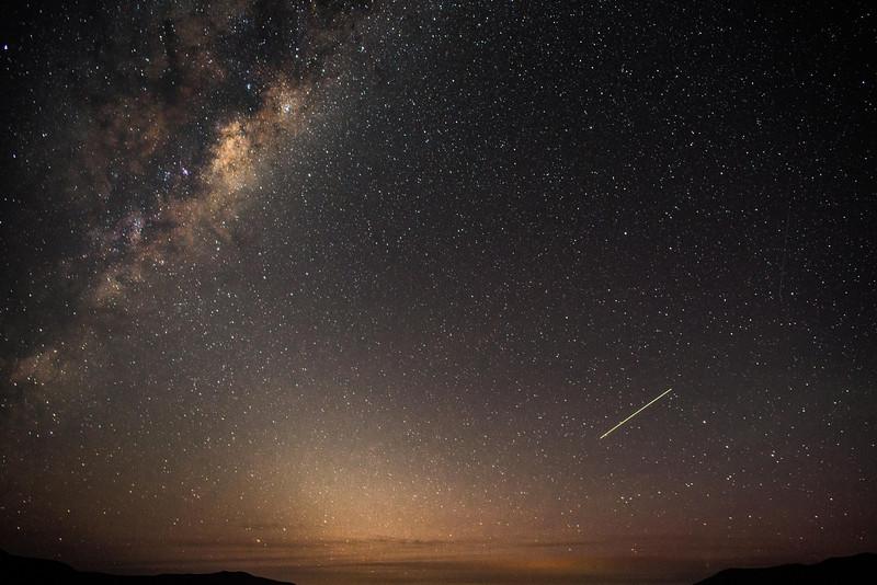 ISS and Milky Way, over Coronet Peak, New Zealand