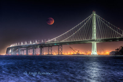 Blood Moon Over Bay Bridge