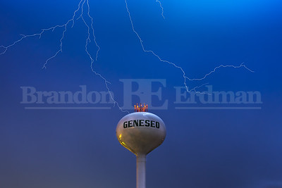 lightning storm over the water tower in Geneseo, Il