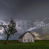 Lightning crashes over an old barn near Muscatine, Iowa
