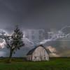 Lightning crashes over an old barn near Muscatine, Iowa