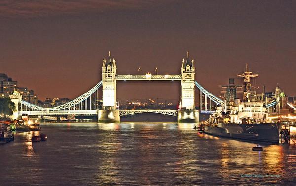 Along the Thames at night