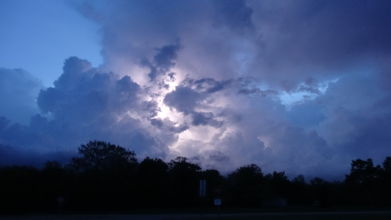 Lightening behind the clouds