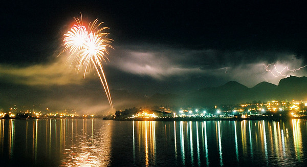 Dueling Light Shows<br /> July 4 in Estes Park, back before digital photography existed