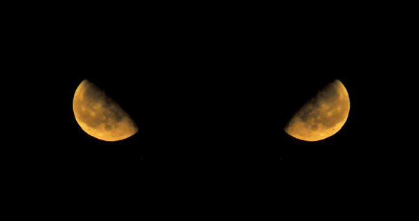 My husband called me into the living room, saying the moon was coming up, and it looked really cool.  So I came running, with camera in hand.  It looked like an eye to me, so I shot it.  Through the window!  And then I mirrored it.