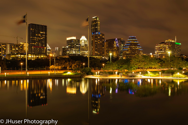Austin Texas cityscape at night